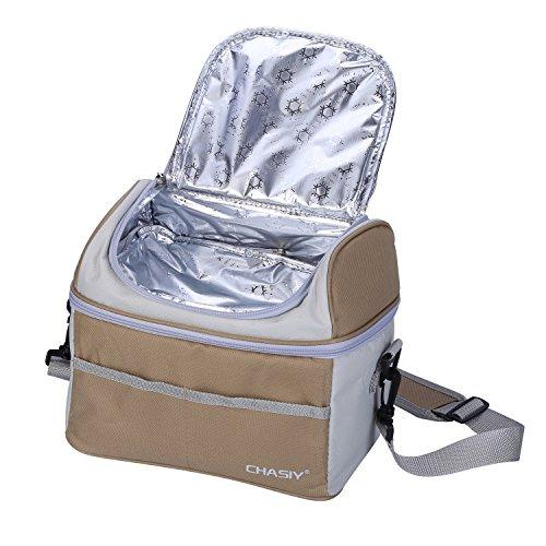 Borsa Termica Porta Pranzo Borsa Frigo Isolata - Tyidalin Tote Termico Cerniera Cooler Bag Sacchetto per Picnic, Viaggio, Scuola e Lavoro Marrone