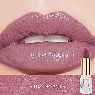 Anglewolf 9 Color Lipstick True Colour 'Blush Nude' Shade With Shea Butter & Vitamin E Waterproof Pearl Metallic Long Lasting Lip Cosmetic Beauty Makeup Gift Beauty Makeup(#102)