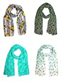 Raksha Bandhan Special Sri Belha Fashions Set Combo of 4 Summer Scarves Soft PolyCotton Women