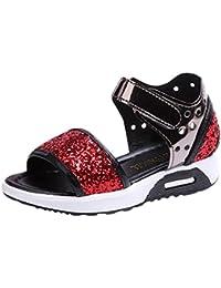 c7720f7ad0564 OHQ Enfant Fille Sequin avec des Sandales de Chaussures Princesse Souple  Anti-DéRapant Rouge Bleu Rose Enfants Infantile Filles Bling…