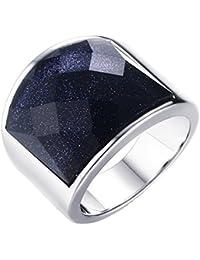 PAURO El acero inoxidable de los hombres de PAURO con el anillo de plata azul de la grava 19m m para el compromiso de la prometedora del motorista