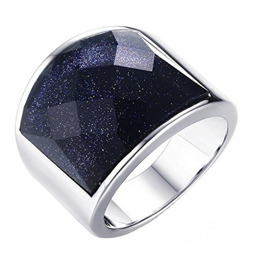 PAURO Herren Edelstahl mit blauem Kies 19mm Silber Ring für Biker Versprechen Engagement Größe 65