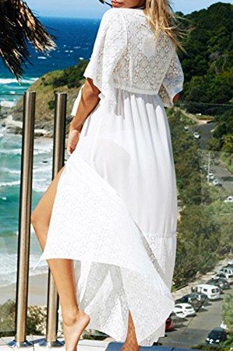 Le Donne Di Pizzo Il Costume Beachwear Chiffon Bikini Insabbiamenti Maxi Vestito White