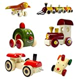 Set of 6 Colorful Wooden cars and Baby toys : Model OW-OW001