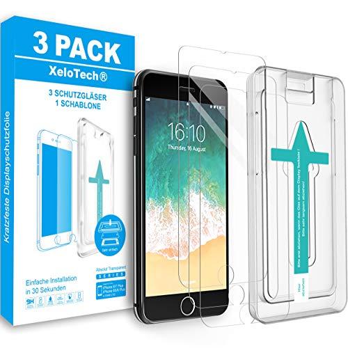 XeloTech Premium Schutzglas Folie [3 Stück] kompatibel mit iPhone 8 Plus, 7 Plus, 6s Plus & 6 Plus mit Schablone zur Positionierung - Displayschutzfolie aus 9H Glas