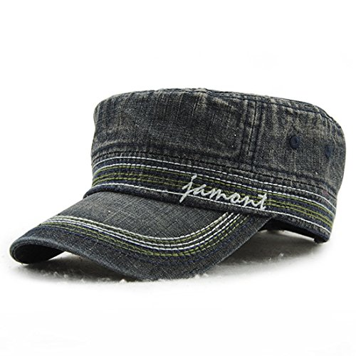 Kuyou Vintage Schirmmütze Flat Cap Jeans Denim Baseball Kappe (Schwarz)
