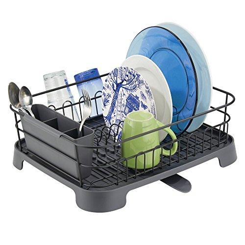 mDesign support à vaisselle en métal et plastique – panier égouttoir avec bec verseur pivotant...