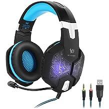 KOTION EACH Auriculares para Jueguos de Diadema con Micrófono G1000 para Videojuegos Sistema de Sonido 3.5mm Controles en el Cable Conexión vía USB con Micrófono para PC, MAC y Móvil con Luz LED(Negro+Azul)