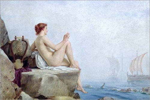 Póster 60 x 40 cm: The Siren, 1888 de Edward Armitage/Bridgeman Images - impresión artística, Nuevo póster artístico