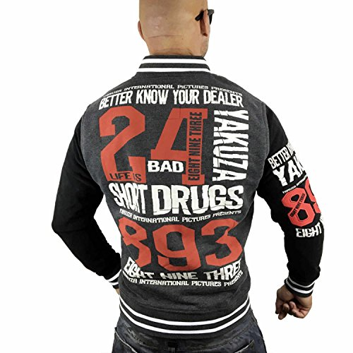 Yakuza Original Herren Know Your Dealer Baseballjacke Dunkelgrau Meliert