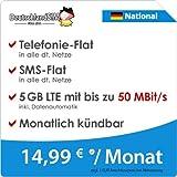 DeutschlandSIM LTE 4000 National [SIM, Micro-SIM und Nano-SIM] monatlich kündbar (5 GB LTE mit max. 50 MBit/s inkl. Datenautomatik, Telefonie-Flat, SMS-Flat, 14,99 Euro/Monat) preiswert