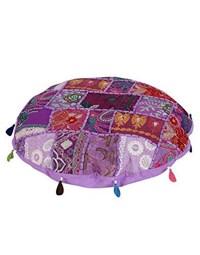 Baumwolle Runde Osmanischen (Rajrang Embellished With Osmanische - Handarbeit - , Lila, Baumwolle Ezelstück Hocker)