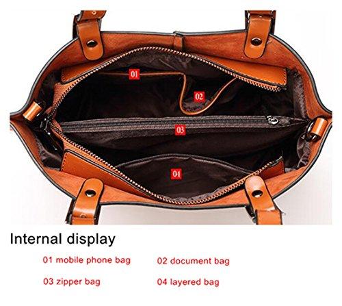 2017 Pelle nuova delle donne spalla Tote borsa del cuoio borsa grande per le donne sacchetto composito big bag (Nero) blu