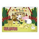 15 Bauernhof Einladungskarten I dv_085 I DIN A6 I Einladung Set Kinder-Geburtstag zum Ausfüllen für Kinder Jungen Jungs Mädchen