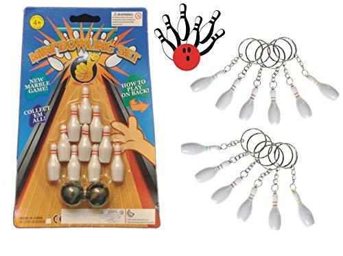 Schnäppchenladen24 Bowling Spiel ⚾ 10 Pins + 2 Kugeln ⚾ + 12 Bowlingpin Schlüsselanhänger Set