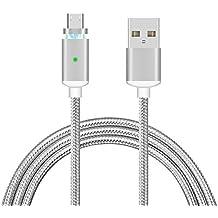 Cable USB Magnético, EIVOTR Carga Datos Transmisión, Cable Micro USB 1.0m, Carga Rápida y Sincronización Alta Velocidad, Cable con LED Indicator, Corriente de Recarga 2A para Smartphone HUAWEI SAMSUNG MI HTC MEIZU etc. - Plata