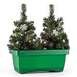 blumfeldt Santaville Schneeflocke balkonkasten Weihnachtsdeko LED Timer grun