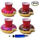 Omont,Krapfen Aufblasbare Pool Coasters Getränkehalter Set 4