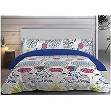 """ADP Home - Funda nórdica, juego de 3 piezas """"blue paisley"""" (funda de almohada, bajera ajustable y funda nórdica), diseño único, cama de 90 cm"""