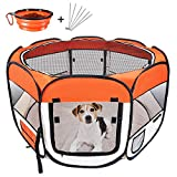 Masthome Portable Pet Playpen, Dog Puppy Playpen with 8-Panel Kennel Mesh Shade Cover Waterproof Fabric Indoor/outdoor Pet Tent Fence for Dogs,Send 1 Pet Bowl,1 Pet Glove & 4 Metal Hooks
