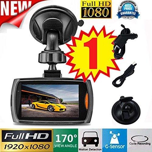 Dvr-auto (1x Auto 1080 P 2.2 Full HD DVR Fahrzeug Kamera Dash Cam Video G-sensor Nachtsichtgerät Fahrschreiber 2,2 Zoll Raster Auto-Kamera Auto-Ladegerät Getränkehalter HKFV (A))