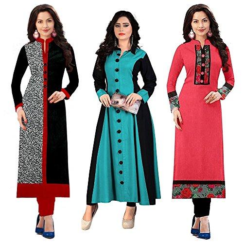 Pramukh Fashion Women\'s cotton kurtis (1002.1017 firozi baby)_Free Size semi stich