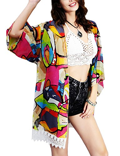 Damen Boho Sommer Blumen Drucken Kimono Cardigan Schier Chiffon Swim Strand Tops Bluse Bikini Cover up Ret-01