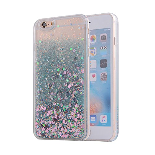 nokea Sparkle Dynamic Drift Sand Blink Flow Sand Glitzer Quicksand in Herz & Paillette Transparente Rückseite Sanduhr Schutzhülle für Apple iPhone 6/6S Plus 14 cm, grün ()