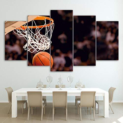 5Tdfc Leinwanddrucke Modulare Leinwand Malerei Wohnzimmer Hd Gedruckt Poster 5 Stücke Basketballkorb Bilder Wandkunst Dekoration Kein Rahmen