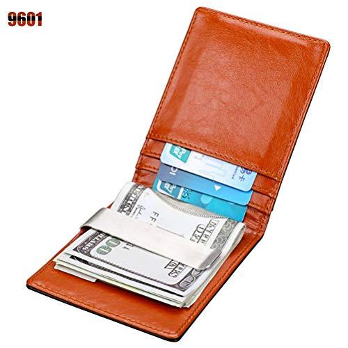Niceamz Raccoglitore antifurto in Pelle Pennello in Pelle RFID Piccolo Portafoglio Piccolo Dollaro (Color : 9601)