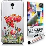 CASEiLIKE Acuarela floral 2230 Bumper Prima Híbrido Duro Protección Case Cover Funda Cascara for Xiaomi Redmi Note 2 +Protector de Pantalla +Cristal Stylus plumas (Color al azar)