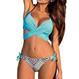 Bikini Damen Set Push Up Neckholder Bandeau Bademode Badebekleidung Strand Badeanzug (S, Drucken Blau)