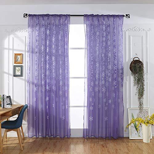 BBestseller 1 Piezas Sombra Cortina de Copo de Nieve Visillo para Ventana Cortina Transparente para Dormitorio y Salón Cortinas a Medida (100cm x 200cm, Púrpura)