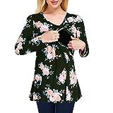 Yesmile Umstandsmode Umstandskleidung Lange Ärmel Frauen Schwangere Blusen Beiläufige Blumen Stillen Langarm Kleidung für Schwangere KapuzenBluse