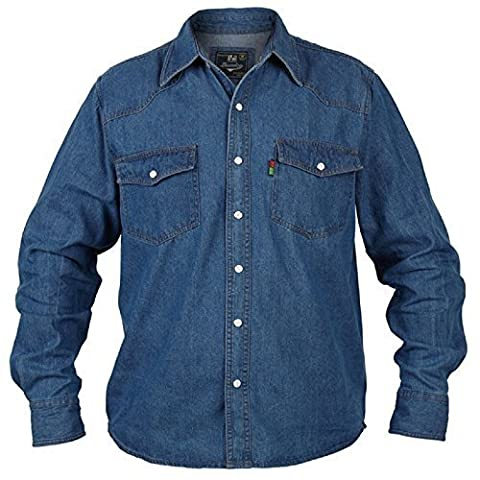 Big Large King Size Mens Rockford Duke Western Denim Shirt Stonewash Blue Long Sleeved Top (Large)