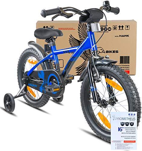 Prometheus Bicicletta per Bambini e Bambine da 5 Anni nei Colori Blu e Nero da 16 Pollici con rotelle e contropedale – BMX da 16″ Modello 2019 - 2