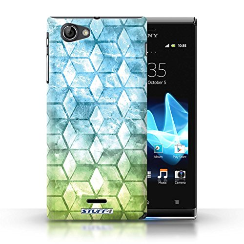 Kobalt® Imprimé Etui / Coque pour Sony Xperia J (ST26i) / Jaun/Vert conception / Série Cubes colorés Bleu/verd