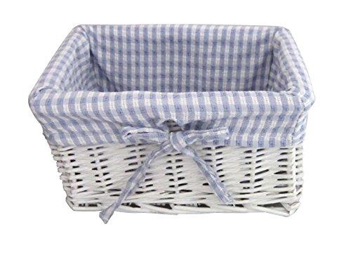 Neugeborene Baby Boy Geschenk Korb/Baby-Geschenkkorb/New Arrival/Baby Dusche weiß Weidenkorb-Blau/Weiß Gingham gefüttert-für kleine Gegenstände-25,5cm -