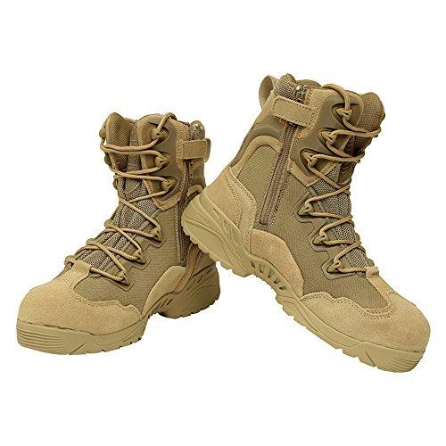 Eastlion Herren Anti-Skid und wasserdichtes Leder Outdoor saisonale Wanderschuhe Stiefel Stiefel Wandern Schuhe Armee Kampfstiefel Gelb