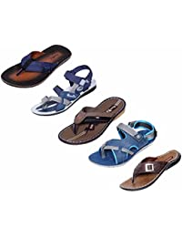 Indistar Boy 100 % PU Flip Flop House Slipper And Sandal- Pack Of 5 Pairs-MultiColor - B072HYHFPG