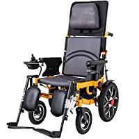 TOOSD Folding Dual Function Electric Wheelchair Powerchair (Li-Ion Battery12a, 20A) Reclinable Backrest And Powerful Motor Drive Use As Manual Wheelchair,A,12A