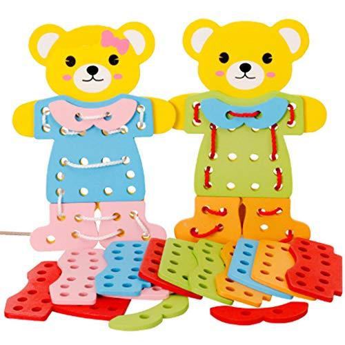 Fornateu Kinder Early Learning Ressourcen Educational Holzbär ändern Kleidung verkleiden Schnürsystem Spielzeug