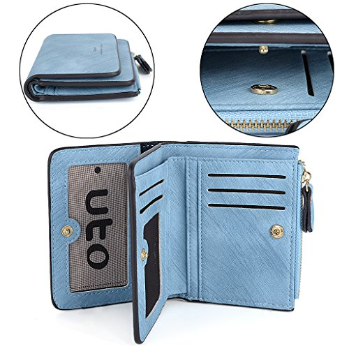 UTO Portafoglio Grande capacità in Morbida Pelle Sintetica 2 livelli Facile Porta 15 Carde e Moneta Blu Blu