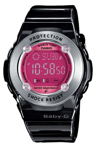 Casio BG-1302-1ER - Reloj digital de mujer de cuarzo con correa de resina negra (cronómetro, alarma, luz) - sumergible a 100 metros