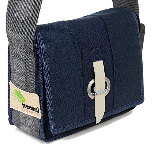 HAB & GUT (E4024A-O) Messenger Bag Mini-PROVOKED, aus Segeltuch mit Verschlusslasche DUNKELBLAU 26 x 19 cm