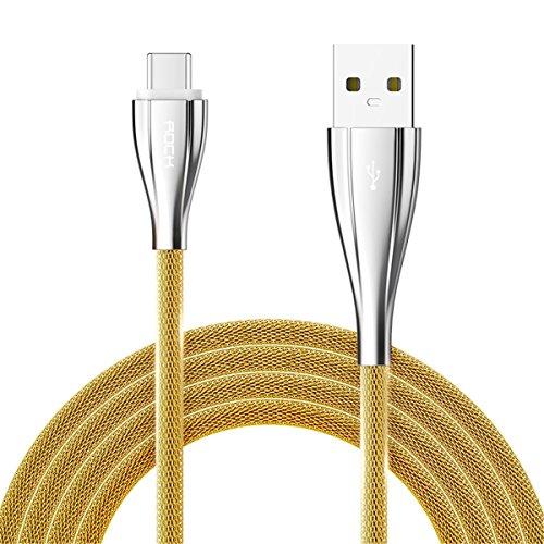ROCK USB Type C Metall Kabel Ladekabel Datenkabel (1M) für Galaxy S8/S8 Plus, Honor V8 Pro,Huawei Mate 9, P9/P10, LG G5, HTC 10, Google Nexus 5X/6P/Pixel/Pixel XL, Nokia N1, OnePlus 2/3, Lumia 950/950XL, Moto Z, MacBook Pro (gold)