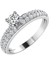 IskiUski White Gold And American Diamond Ring For Women - B075VHF71K