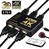 HDMI Switch Hub 4 K UHD ,5 porte Switch HDMI commutatore with IR Remote, supporto HDCP 3d, CEC, Arc, Full HD 1080P, Ultra HD 2160p, Risoluzione: fino a 4 K a 30 Hz For PC, laptop, Xbox, tv