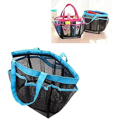 iiniim portatile rete portaoggetti da doccia Caddy Borsa multifunzione Storage cosmetici sacchetti, Double Sling Blue, taglia unica