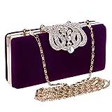 Blue Bridge Crossbody Bolso de Noche con Corona roja para Mujer Bolso de Bandolera con Bandolera en Negro con Diamantes Compras (Color : Purple)